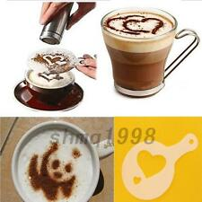 Weiß Schablone Set 16 Motive DIY Cappuccino Kaffee Hot Kakao Dekoration