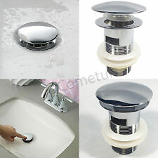 Waste Pop Up Basin Sink Plug Chrome Bathroom Slotted Push Button Click Clack Kit