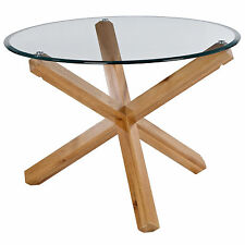 Solid Oak & Glass Round Dining Table