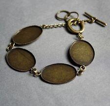 Antique Bronze Bracelet Cabochon Resin Blanks - 4 pcs
