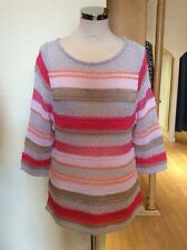 Aldo Martins Top Size 10 BNWT Pink Grey Beige Coral Stripe RRP £120 Now £54