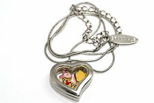 DISNEY HEART LOCKET SILVER NECKLACE FLOATING WINNIE THE POOH PIGLET LOVE CHARMS