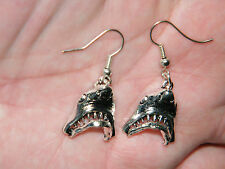 """SHARK Earrings GREAT WHITE JAWS SILVER Tone Mouth Opens Up! 2"""" Silver Wires NEW!"""