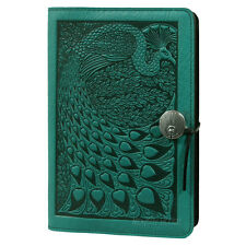 "PEACOCK Oberon Design Leather Journal 6""x9"" Large Teal-Blue butterflies JLM48"