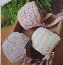 Baby's Bonnet Knitting Patterns / use for Reborn doll / Double Knit