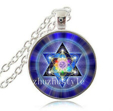 New Star of David Cabochon Glass Tibet Silver Chain Pendant Necklace