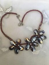 "Retro Glass Beaded Flower Necklace 20"" Adjustable Pink Purple Shimmering Beads"
