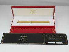Cartier Vendome Oval Gold Plated Pinstripe and Bordeaux Resin Ballpoint Pen MINT