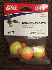 "FISHING BOBBERS, Orange & Yellow, 3 PK.,3/4"" ROUND, Snap-On Floats EAGLE CLAW"