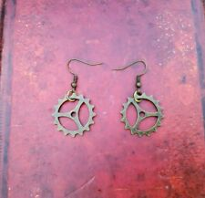 A Pair of hanging cog Earrings Bronze Gears Kitsch Retro Vintage steampunk goth
