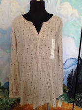 SONOMA PLUS L  CASUAL NEW BEIGE MIX FLORAL BUTTON PLACKET LONG SLEEVE TUNIC TOP