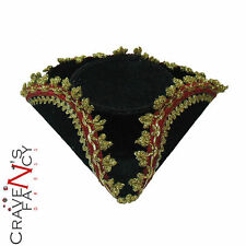 PIRATA MINI TRICORN CAPPELLO NERO ORO BORDO onorevoli Costume Nuovo