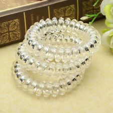4x Girl Clear Elastic Rubber Hairband Phone Wire Hair Tie Rope Band Ponytail TB