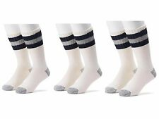 6 Pair Croft & Barrow Men's Cream Stripe Cold Weather Winter Crew Boot Socks NEW