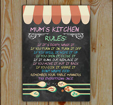 Kitchen Rules, Mum's, Kitchen Rules, Metal Tin Plaque | Chalk board (effect)