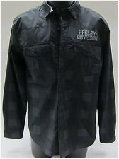 Harley-Davidson New Men's Medium Wrinkle Resistant Long Sleeve Shirt Grey-Black