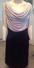 KAREN MILLEN Ladies Black And Champagne Cowl Neck Bodycon Cocktail Dress 10-12