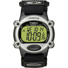 Timex Expedition Watch Men Chrono Alarm Timer 100M Water Resistance Silver Black