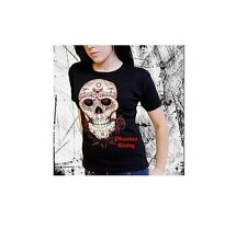 Darkside Clothing Sugar Skull Mexican Day Of The Dead Black Tshirt UK 10 S/M