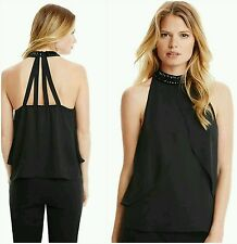 NEW Guess by Marciano black macadamia Isadora Jewel-Neck Tank SIZE S