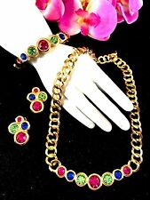 SWAROVSKI SWAN 18K GP FUCHSIA SAPPHIRE RHINESTONE NECKLACE BRACELET EARRINGS SET