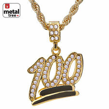 "Mens Hip Hop Iced Out Mini Emoji 100 Pendnat 24"" Rope Chain Pendant Necklace Set"