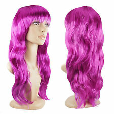 Women's Sexy Long Curly Purple Fancy Dress Wigs Cosplay Costume Ladies Full Wig
