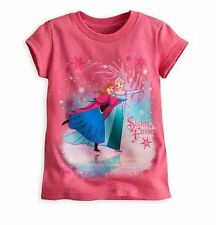 Disney Store Elsa & Anna Sisters Frozen Pink Princess Shirt Girls sz 7/8 New