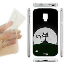 COVER MORBIDA SLIM TPU GATTO NERO LUNA PER SAMSUNG GALAXY S4 MINI i9190