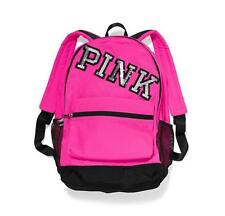 Victorias Secret Pink Sequins Bling Graphic NEON Campus Backpack Laptop Bag NWT