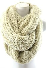 Chunky Yarn Knit Ivory Beige Thick Super Soft Warm Double Infinity Winter Scarf