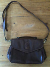 ARISTOPHANES T.M.C.ART LONG STRAP BROWN LEATHER(?) HANDBAG LINED MADE IN CHINA