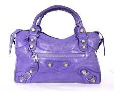 BALENCIAGA $1,945 Purple Lambskin GIANT PART TIME 21 Motorcycle Bag SHW