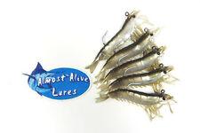 ALMOST ALIVE 5 SHRIMP PRAWN FISHING LURES BAIT GAME FISH RIGGED HOOKS MEDIUM