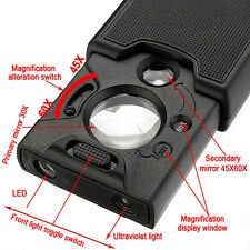 45x 60x LED UV Lighted Magnifier Jewelry Loupes Loop Magnifying Glass Worthy