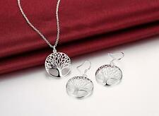 cute Charms Tree Silver Plated Fashion wedding Women earring necklace set hot