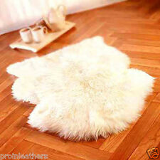 GENUINE SINGLE SHEEPSKIN RUG sheep skin Fur Pelt big -WHITE COLOR HAIR