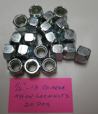 "Steel Nylon Insert Lock Nuts 1/2""-13 Qty: 20  Zinc Plated Nylock Brighton Best"