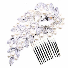 WEDDING SILVER PEARL JEWEL BRIDAL DIAMANTE HAIR COMB FASCINATOR HAIRPIECE SLIDE