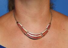 Silver coloured metal red & white enamelled costume necklace bijou