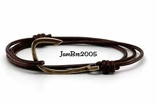 Handmade Chocolate Round Leather Cord Bronze Fish Hook Bracelet Fashion Trendy