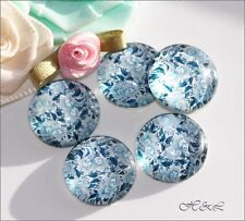 6 Blue Vintage Flower Willow Pattern 16mm Round Glass Flatback Jewellery Cabs