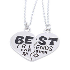 2Pcs Set Best Friends Forever Heart Friendship Pendant Choker Necklace Chain