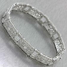 Vintage Estate Art Deco Style 18k Solid White Gold 2.50ctw Diamond Bracelet