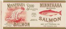 EARLY PORT TOWNSEND SALMON LABEL BEAUTY: MINNEHAHA AT EDGE OF FOREST LAKE
