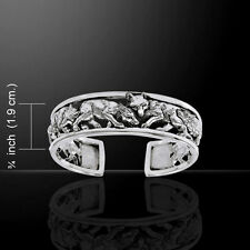 Wolf Family .925 Sterling Silver Bangle Bracelet by Peter Stone
