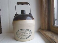 RARE QUEBEC MAPLE SYRUP DETROIT,MICH GALLON STONEWARE JUG WITH HANDLE 1890s