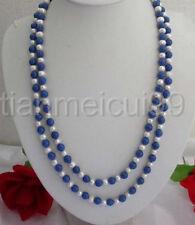 """8mm Lazuli Lapis & blanc d'eau douce Culture de perles Collier 50 """""""