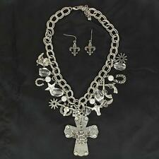 M&F Western Womens Jewelry Necklace Earrings Guitar Cross Charms 29564