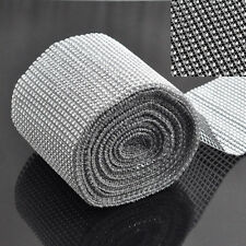 "4.75"" x 10 Silver Crystal Ribbon Yard DIAMOND MESH WRAP ROLL SPARKLE RHINESTONE"